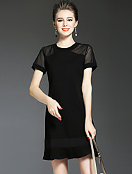 NEDO Women's Casual/Daily Party Holiday Simple Street chic Sophisticated Little Black DressSolid Round Neck Above Knee Short Sleeve