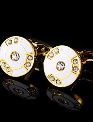 cheap -New Men Gold Cufflinks Circular Shape Mens Jewelry Wedding Party Gift Classical Shirt Cuff Links Golden Metal Buttons