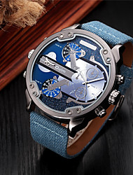cheap -Men's Sport Watch / Fashion Watch / Dress Watch Calendar / date / day / Creative / Dual Time Zones Fabric Band Charm / Luxury / Vintage Blue / Stainless Steel / Large Dial