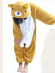Kigurumi Pajamas Bear Costume Brown Flannel Kigurumi Leotard / Onesie Cosplay Festival / Holiday Animal Sleepwear Halloween Patchwork For