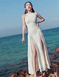 Sign Bohemia diamond lace halter dress slit skirt was thin holiday
