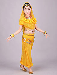 Belly Dance Outfits Kid's Performance Chiffon Gold Coins / Sequins Short Sleeve 4 Pieces Top / Pants / Hip Scarf / Veil