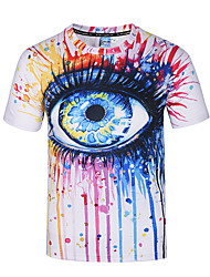 cheap -Men's Party Daily Club Boho Punk & Gothic Street chic Spring Summer T-shirt,Print Round Neck Short Sleeves Polyester Thin