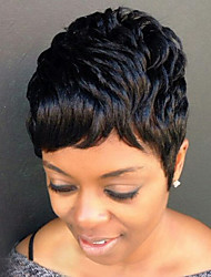 cheap -Diy-Wig Natural Textured Short Black Fluffy Human Hair Capless Wigs For Elegant Women