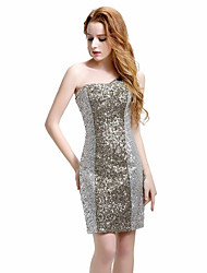 cheap -Mermaid / Trumpet One Shoulder Knee Length Sequined Cocktail Party Dress with Beading Sequins by Sarahbridal