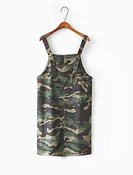 Знак весна новый рыхлый дикая личность камуфляж длинный джинсовый платье ремень платье женщины