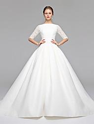 Princess Bateau Neck Sweep / Brush Train Lace Satin Wedding Dress with Sash / Ribbon Bow by LAN TING BRIDE®