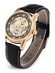 Men's Watch Auto-Mechanical Watch Gold Hollow Engraving Elegant PU Band Wrist Watch Cool Watch Unique Watch Fashion Watch