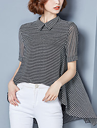 Women's Casual/Daily Street chic Summer Fashion Blouse Striped Shirt Collar Asymmetric Short Sleeve Polyester Thin
