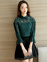 Autumn new lantern sleeve shirt lace shirt openwork lace shirt female short paragraph to send Sling