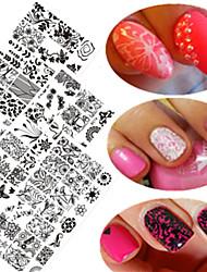 10pcs / set nouveau design images plaque d'estampage clou de dentelle douce coloré mode diy pochoirs estampage manucure outil de beauté