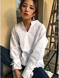 Real shot South Korean women new Western style semi-open-collar lotus leaf sleeve loose long-sleeved shirt female