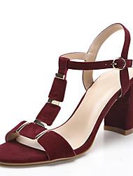 Sandals Spring Summer Fall Toe Ring Fabric Office & Career Dress Casual Chunky Heel Rivet