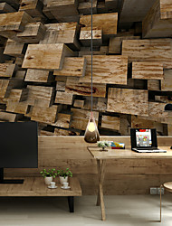 Art Deco 3D Wallpaper For Home Contemporary Wall Covering  Canvas Material Adhesive required Mural Wooden Board XXXL(448*280cm)