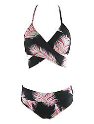 Women's Straped Vintage Tankini Push Up Print High Rise Plumage Backless Split Type Lace Up Bikini