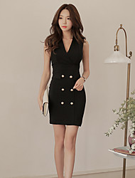 Women's Event/Party Casual/Daily Club Office & Career Sexy A Line Dress,Solid Color Sexy Lady Shirt Collar Above Knee, Mini Sleeveless N/A