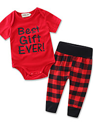 Baby Red Jumpsuit T-shirt Lattice Pants Kids Leisure Time Clothing Girl Boy Rompers Cotton Clothes Set Dress