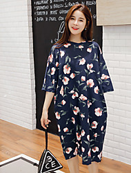 2017 spring and summer new Korean women's large size loose fashion retro print sleeve fifth sleeve dress