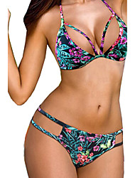 preiswerte -Damen Bikinis - Floral Tiefer Ausschnitt Mit Schleife Polyester Halfter
