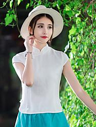 Spot real shot improved Chinese cheongsam dress costume Republic Pankou wind short-sleeved shirt collar jacquard