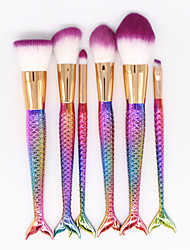 cheap -YZIMENG® 6pcs Mermaid Tail Rainbow Makeup Brush Set Blush/Concealer/Powder Portable Synthetic Hair Travel Beauty Care Make Up for Face