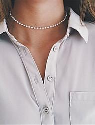 Недорогие -Жен. Обсидиан Ожерелья-бархатки Одинарная цепочка На заказ Классический Простой стиль Мода Искусственный жемчуг Белый Ожерелье Бижутерия Назначение