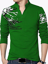 Men's Sports Casual/Daily Holiday Plus Size Simple Boho Chinoiserie All Seasons T-shirt,Print Stand Long Sleeve Cotton Spandex Medium