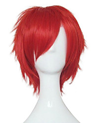 cheap -Capless Big Red Young Man Cosplay Wigs  Synthetic Straight  Hair Short Wig