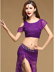 Belly Dance Outfits Women's Performance Lace Modal Laces 2 Pieces Short Sleeve Natural Top Skirt