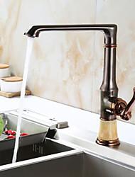 Décoration artistique/Rétro Débit Normal Set de centre Séparé with  Soupape céramique Mitigeur un trou for  Or rose , Robinet de Cuisine