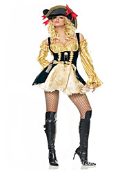 Pirate Costumes de Cosplay Féminin Halloween Carnaval Fête / Célébration Déguisement d'Halloween noir +Doré Mode