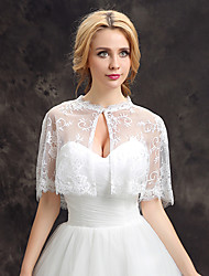 Women's Wedding Wrap Capelets Shrugs Sleeveless Lace Tulle Wedding Party/Evening Lace Pearls Grace Bride Shawl White