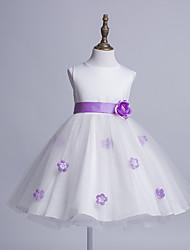 Princess Knee Length Flower Girl Dress - Satin Tulle Sleeveless Jewel Neck with Bow(s) Flower(s) Sash / Ribbon by Liyuan