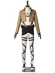 abordables -Inspirado por Attack on Titan Eren Jager Animé Disfraces de cosplay Trajes Cosplay Un Color Manga Larga Top Pantalones Delantal Cinturón