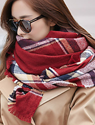 Korea Cotton Hot Grid Lattice Scarf Shawls Long Rectangle Women's Retro Print Scarves