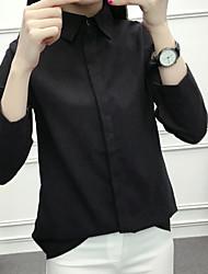 Camicia Da donna Per uscire Vintage Tinta unita Colletto Cotone Manica lunga