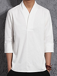 cheap -Men's Chinoiserie Linen T-shirt-Solid Colored V Neck