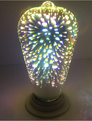 1pc st64 fuochi d'artificio decorativo 3d e27 edison bulbo party caldo bianco decorativo led globe luci ac85-265v