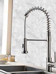 Contemporary Art Deco/Retro Modern Pull-out/­Pull-down Vessel Widespread Pullout Spray Ceramic Valve Single Handle One Hole Nickel Brushed