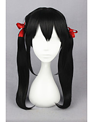 cheap -Costume Wigs / Synthetic Wig Straight With Ponytail Black Women's Capless Cosplay Wig Medium Synthetic Hair