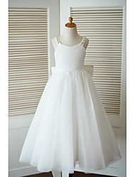 cheap -A-Line Ankle Length Flower Girl Dress - Lace Tulle Sleeveless Straps with Beading Bow(s) by LAN TING BRIDE®