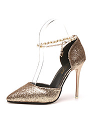 Women's Heels Spring Summer Ankle Strap Office & Career Party & Evening Dress Stiletto Heel Sequin Walking Shoes