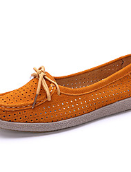 cheap -Women's Shoes Leather Summer / Fall Comfort Loafers & Slip-Ons Flat Heel Round Toe Red / Blue / Pink