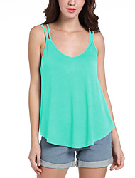 cheap -Women's Daily Going out Holiday Casual Sexy Street chic Spring Summer Tank Top,Solid Strap Sleeveless Polyester Medium