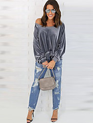 cheap -Women's Going out Beach Cute Casual Sexy Spring All Seasons T-shirt,Solid Round Neck Long Sleeves Rayon Medium