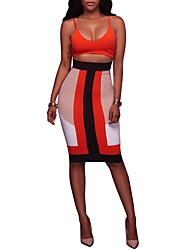 cheap -Women's Party Club Sexy Bodycon Dress,Color Block Deep V Knee-length Sleeveless Polyester Spandex Summer High Rise Stretchy Thin