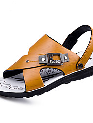 cheap -Men's Shoes Leather Summer Comfort Sandals Walking Shoes Rivet for Casual Brown Light Brown