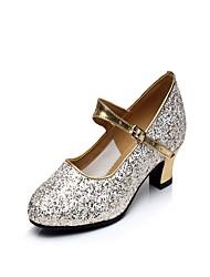 "Women's Latin Sparkling Glitter Heels Indoor Buckle Sparkling Glitter Cuban Heel Gold 1"" - 1 3/4"" 2"" - 2 3/4"""