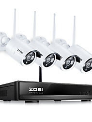 economico -zosi® 960 p / 720 p hdmi nvr 4 pz 1.3 mp ir outdoor p2p wireless ip telecamera cctv sistema di sicurezza kit di sorveglianza