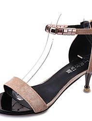 Недорогие -Для женщин Сандалии Удобная обувь Полиуретан Лето Повседневные Для прогулок Удобная обувь Комбинация материалов На шпильке Черный Хаки4,5